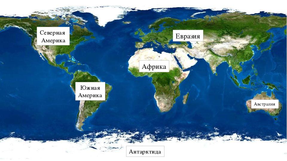 Австралия Евразия Африка Северная Америка Южная Америка Антарктида