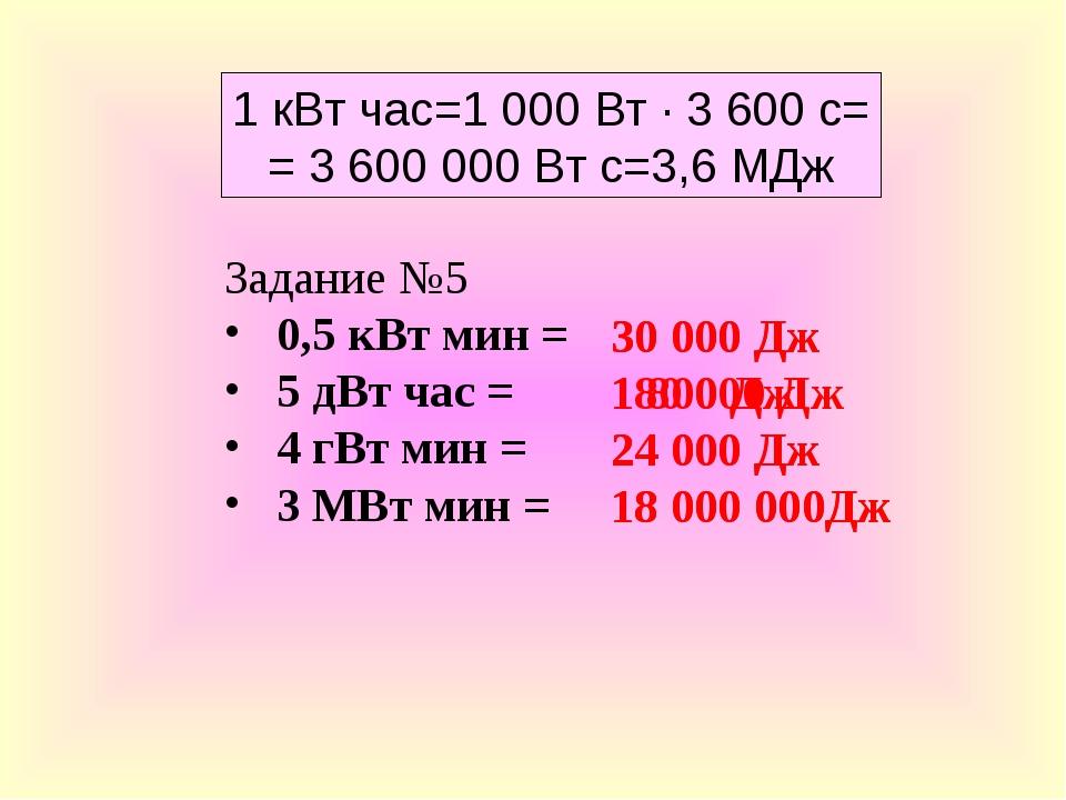 1 кВт час=1 000 Вт · 3 600 с= = 3 600 000 Вт с=3,6 МДж Задание №5 0,5 кВт мин...