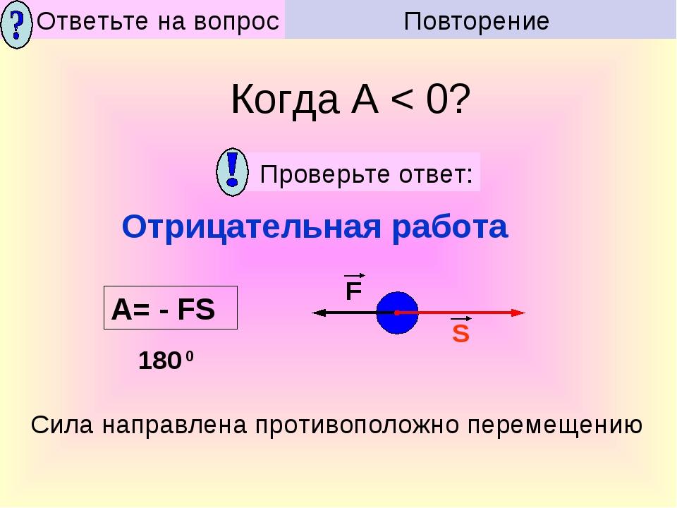 Сила направлена противоположно перемещению Отрицательная работа Когда А < 0?...