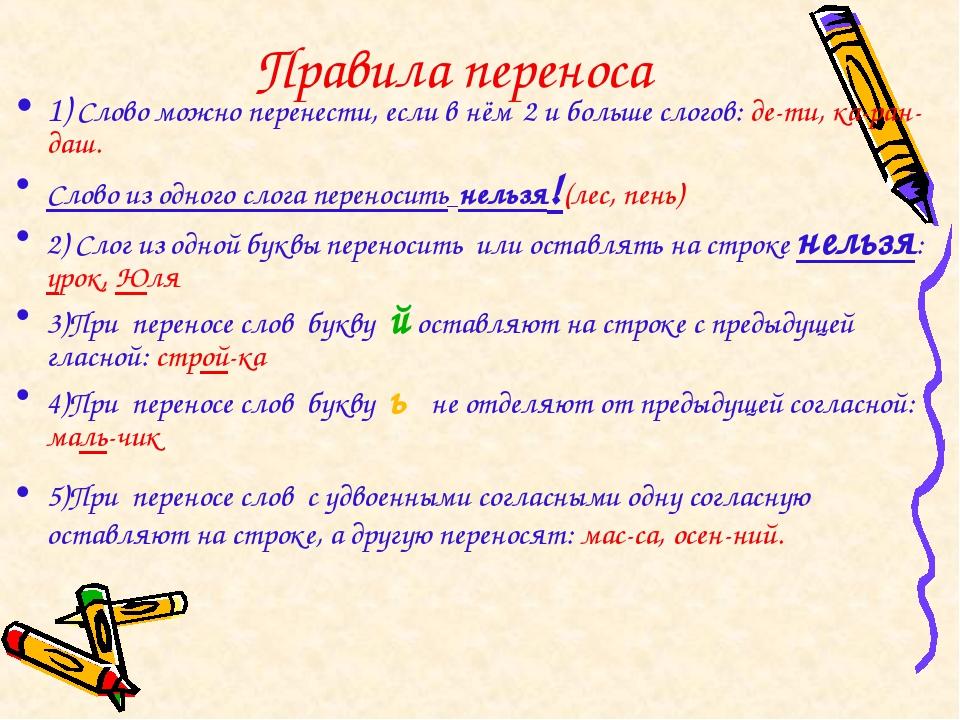Правила переноса 1) Слово можно перенести, если в нём 2 и больше слогов: де-...