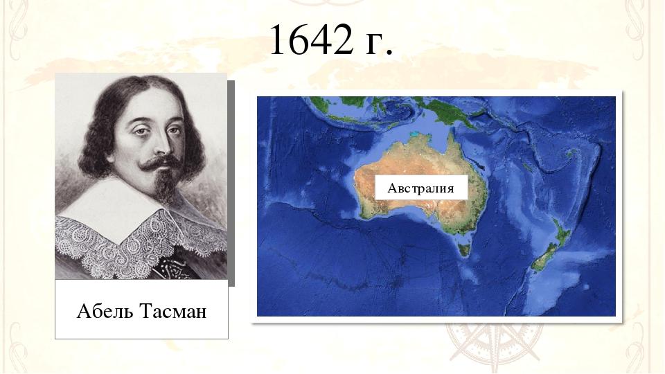 1642 г. Абель Тасман Австралия
