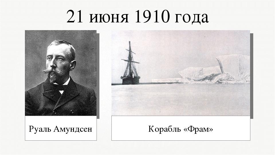 21 июня 1910 года Руаль Амундсен Корабль «Фрам»
