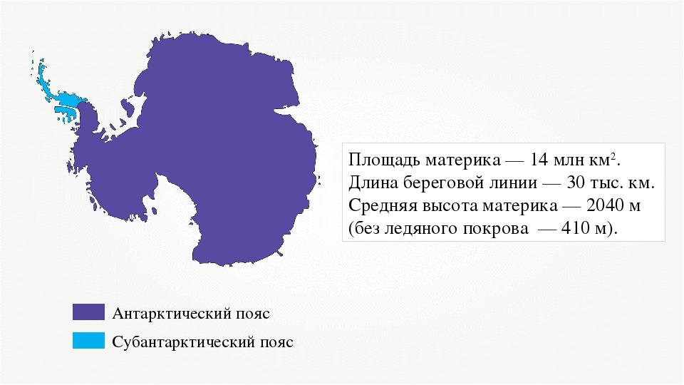 Антарктический пояс Субантарктический пояс Площадь материка — 14 млн км2. Дли...