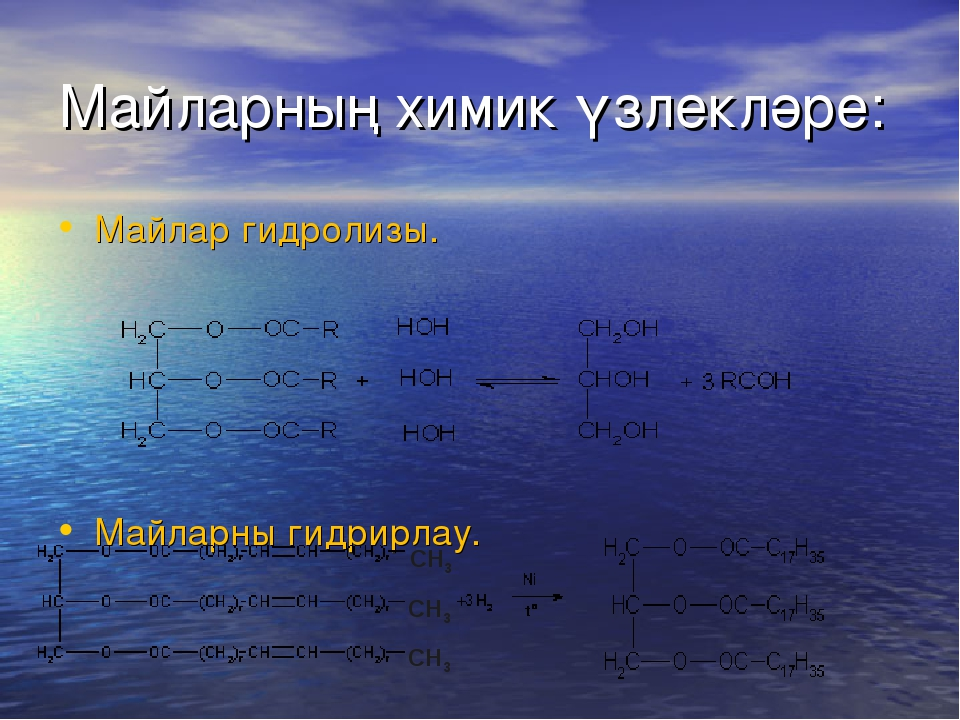 Майларның химик үзлекләре: Майлар гидролизы. Майларны гидрирлау.