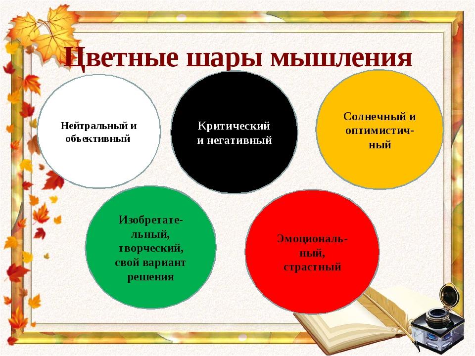 Цветные шары мышления Нейтральный и объективный Критический и негативный Изоб...