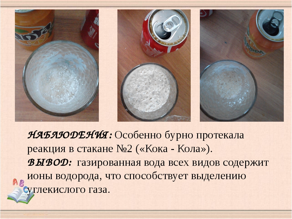 НАБЛЮДЕНИЯ: Особенно бурно протекала реакция в стакане №2 («Кока - Кола»). ВЫ...