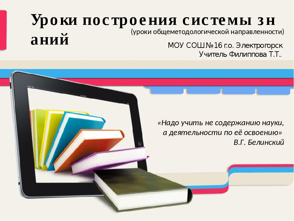 Уроки построения системы знаний МОУ СОШ №16 г.о. Электрогорск Учитель Филиппо...