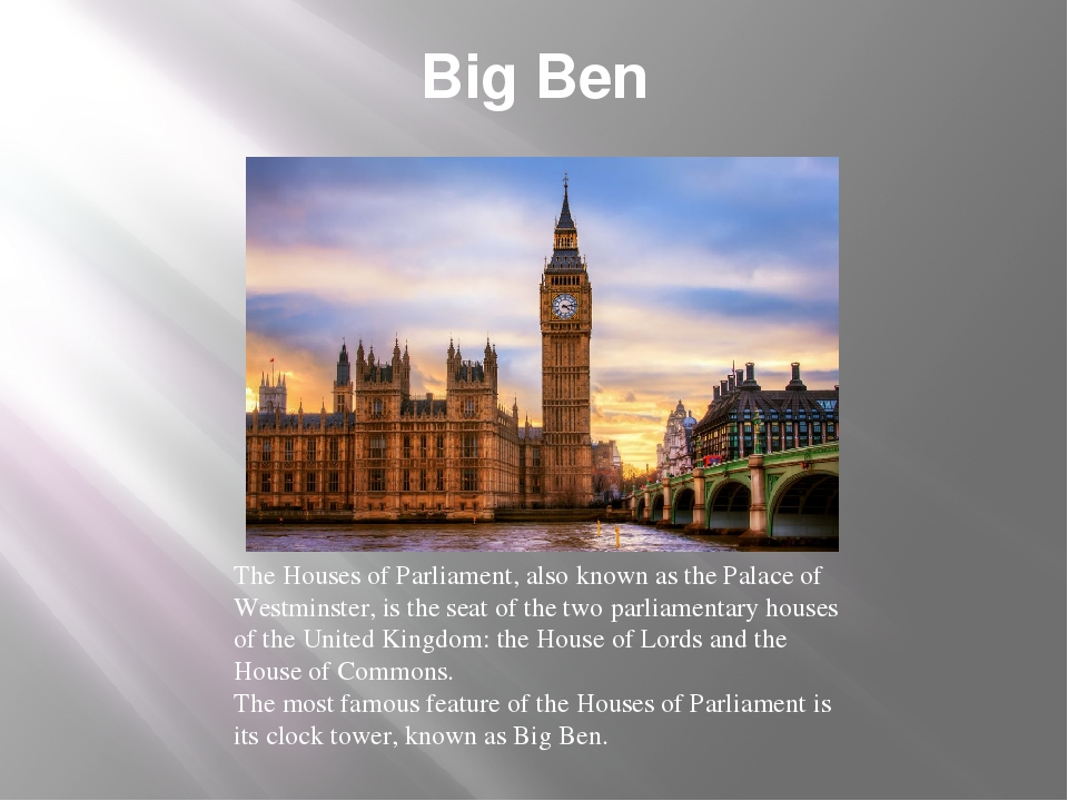 Big Ben The Houses of Parliament, also known as the Palace of Westminster, is...