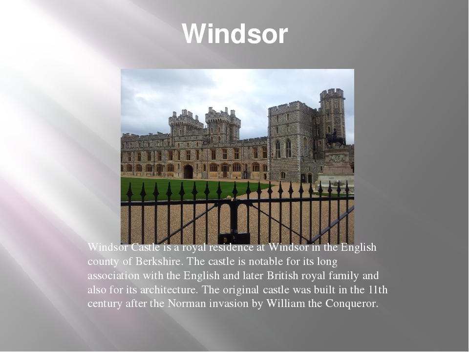 Windsor Windsor Castle is a royal residence at Windsor in the English county...
