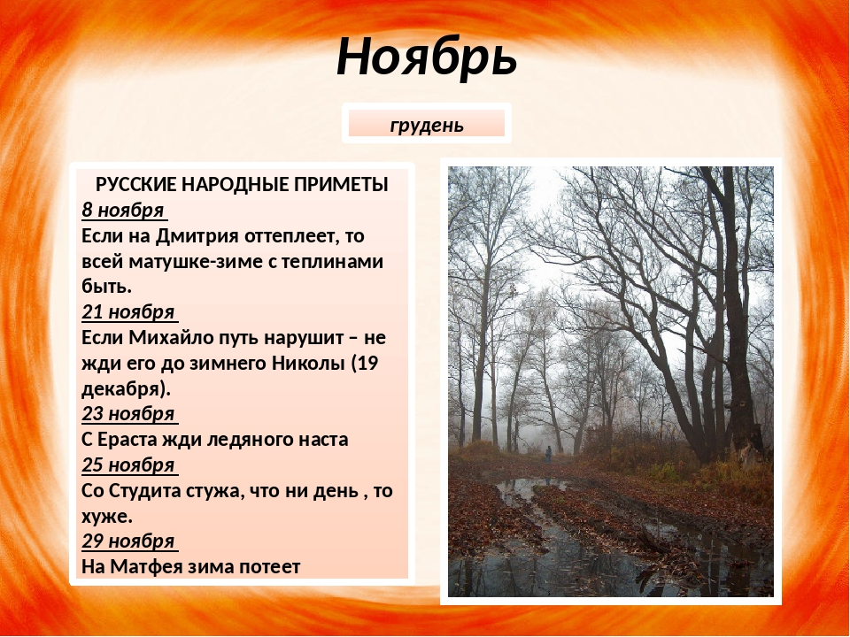 Ноябрь РУССКИЕ НАРОДНЫЕ ПРИМЕТЫ 8 ноября Если на Дмитрия оттеплеет, то всей м...
