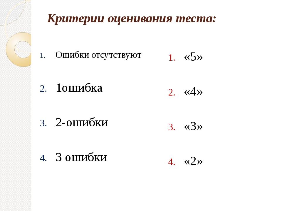 Критерии оценивания теста: Ошибки отсутствуют 1ошибка 2-ошибки 3 ошибки «5» «...