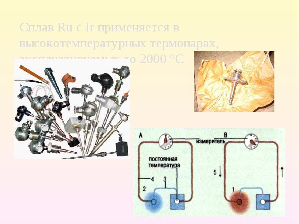 Сплав Ru с Ir применяется в высокотемпературных термопарах, эксплуатируемых д...