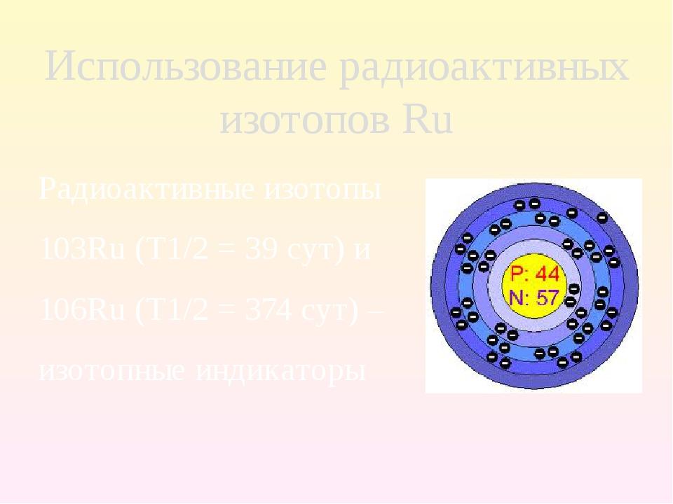 Радиоактивные изотопы 103Ru (T1/2 = 39 сут) и 106Ru (T1/2 = 374 сут) – изотоп...