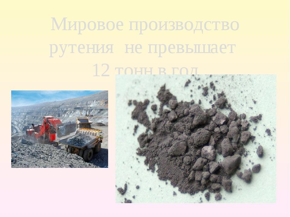 Мировое производство рутения не превышает 12 тонн в год