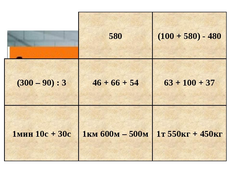 580 (100 + 580) - 480 (300 – 90) : 3 46 + 66 + 54 63 + 100 + 37 1мин 10с + 30...