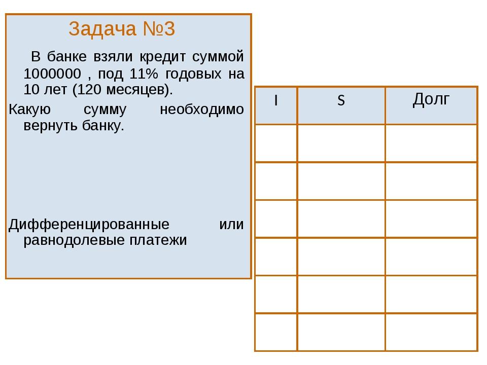 Задача №3  В банке взяли кредит суммой 1000000 , под 11% годовых на 10 лет...