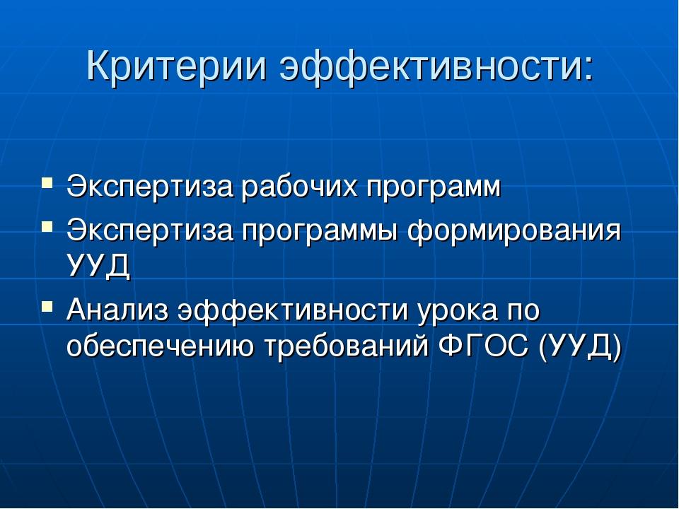 Критерии эффективности: Экспертиза рабочих программ Экспертиза программы форм...