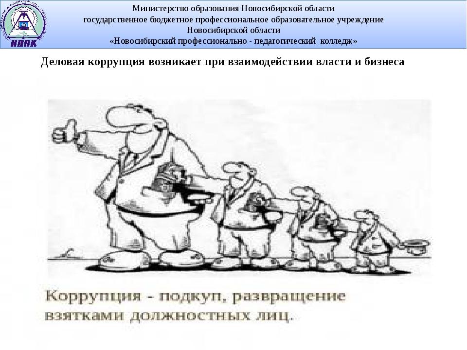 Деловая коррупциявозникает при взаимодействии власти и бизнеса Министерство...
