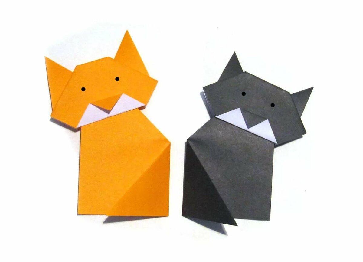 целом оригами кошки из бумаг в картинках морковь