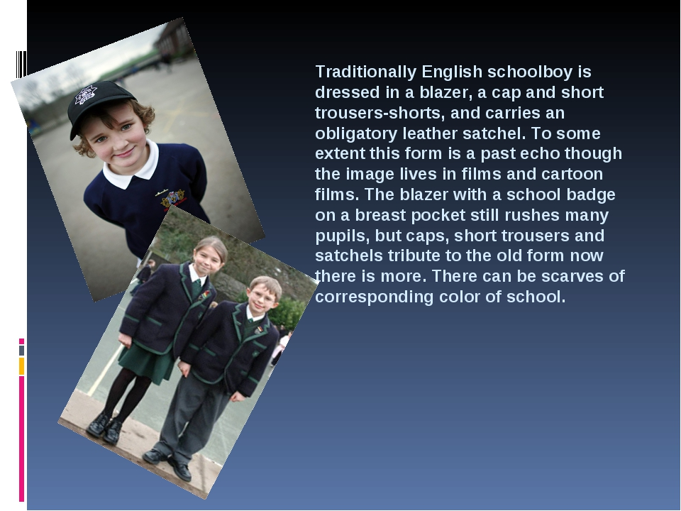Traditionally English schoolboy is dressed in a blazer, a cap and short trous...