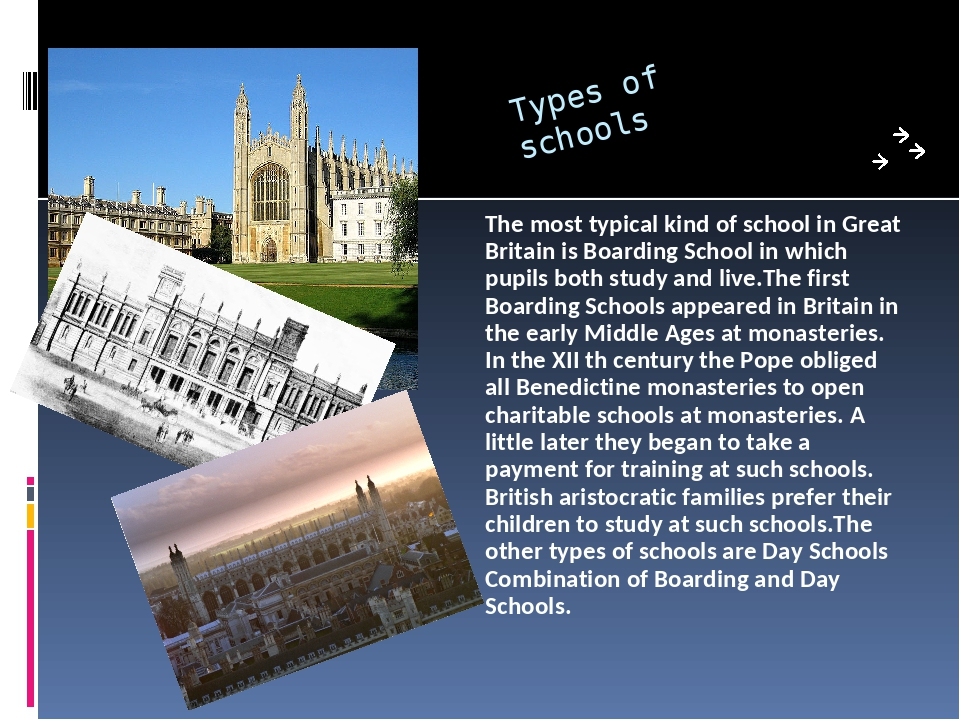 Types of schools The most typical kind of school in Great Britain is Boarding...