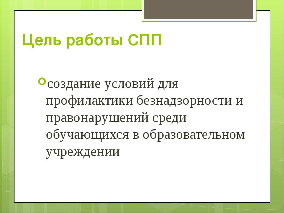 Цель работы СПП создание условий для профилактики безнадзорности и правонаруш...