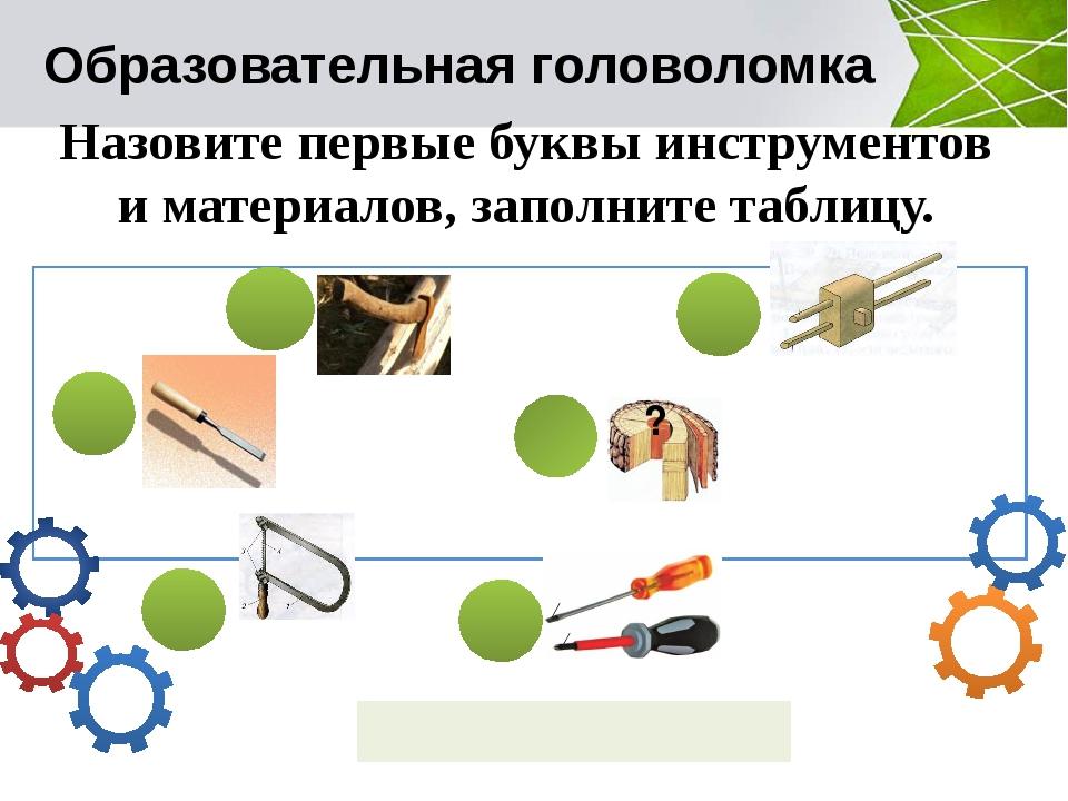 Образовательная головоломка Назовите первые буквы инструментов и материалов,...