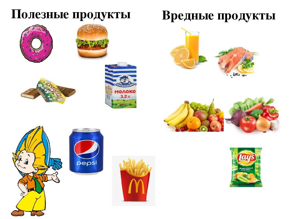 Картинки детям полезные и вредные продукты