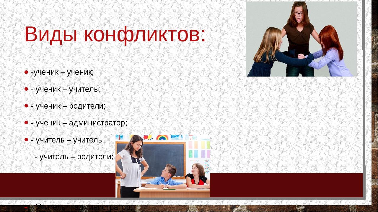 Виды конфликтов: -ученик – ученик; - ученик – учитель; - ученик – родители; -...