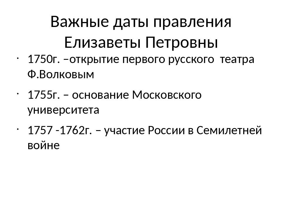 Важные даты правления Елизаветы Петровны 1750г. –открытие первого русского те...