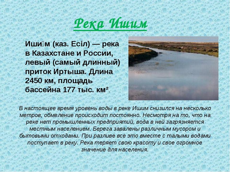 Река Ишим Иши́м (каз. Есіл) — река в Казахстане и России, левый (самый длинны...
