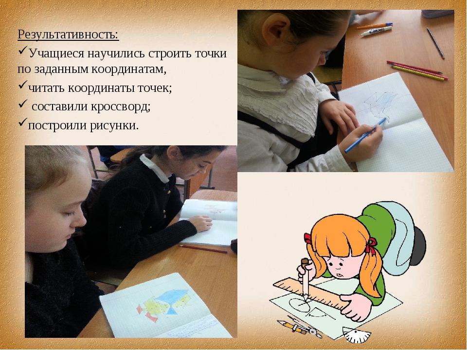 Результативность: Учащиеся научились строить точки по заданным ко...