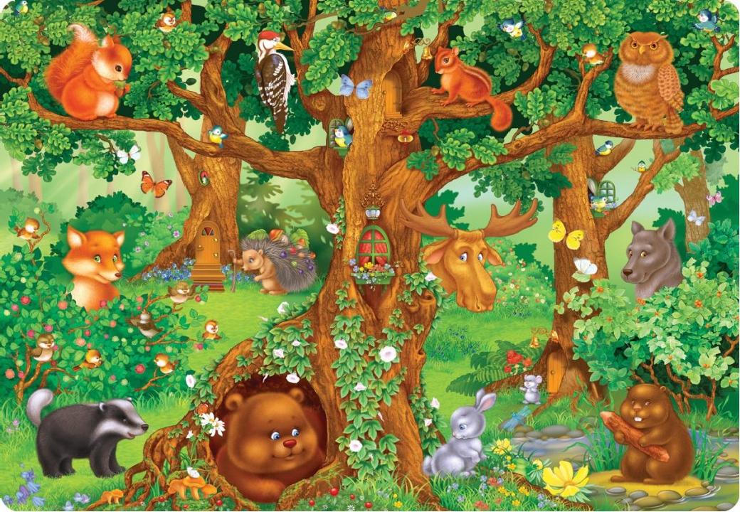 Картинка сюжетная с лесом