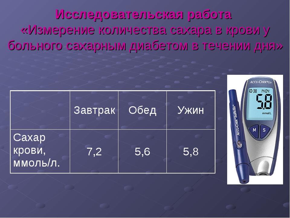 Исследовательская работа «Измерение количества сахара в крови у больного саха...