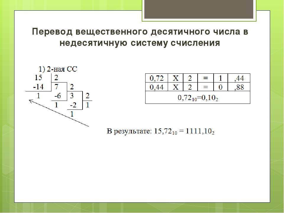 Перевод вещественного десятичного числа в недесятичную систему счисления