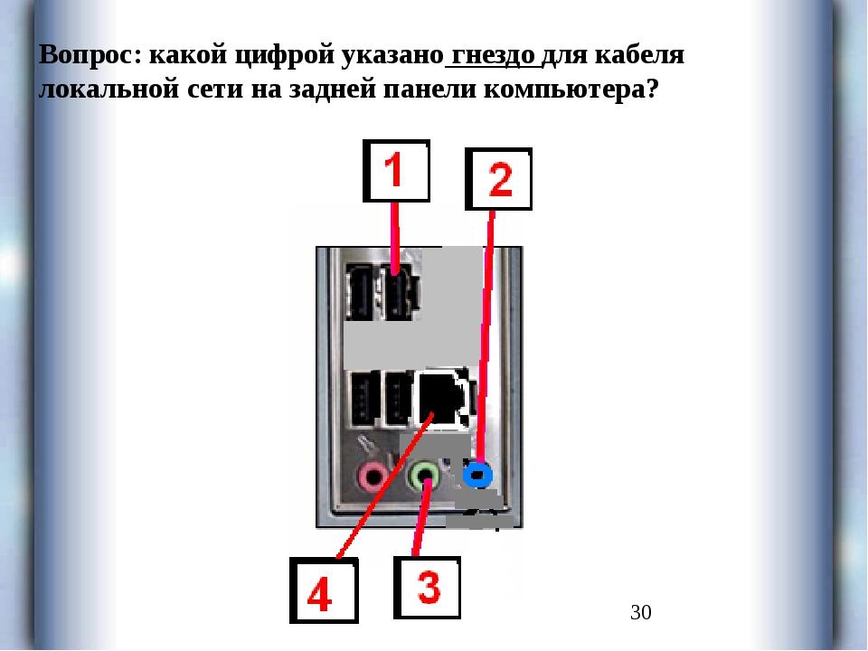 Вопрос: какой цифрой указано гнездо для кабеля локальной сети на задней пане...