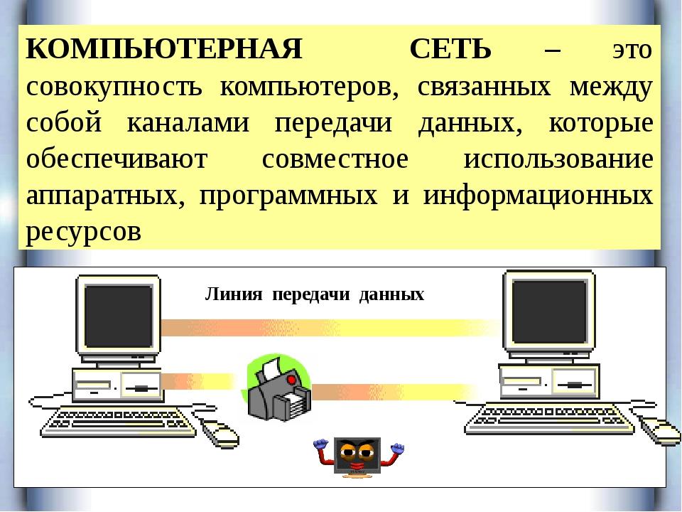 КОМПЬЮТЕРНАЯ СЕТЬ – это совокупность компьютеров, связанных между собой кана...