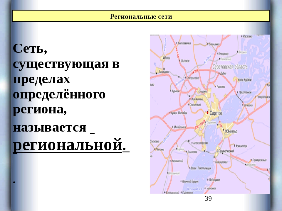 Сеть, существующая в пределах определённого региона, называется региональной...