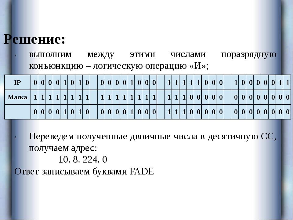 Решение: выполним между этими числами поразрядную конъюнкцию – логическую опе...