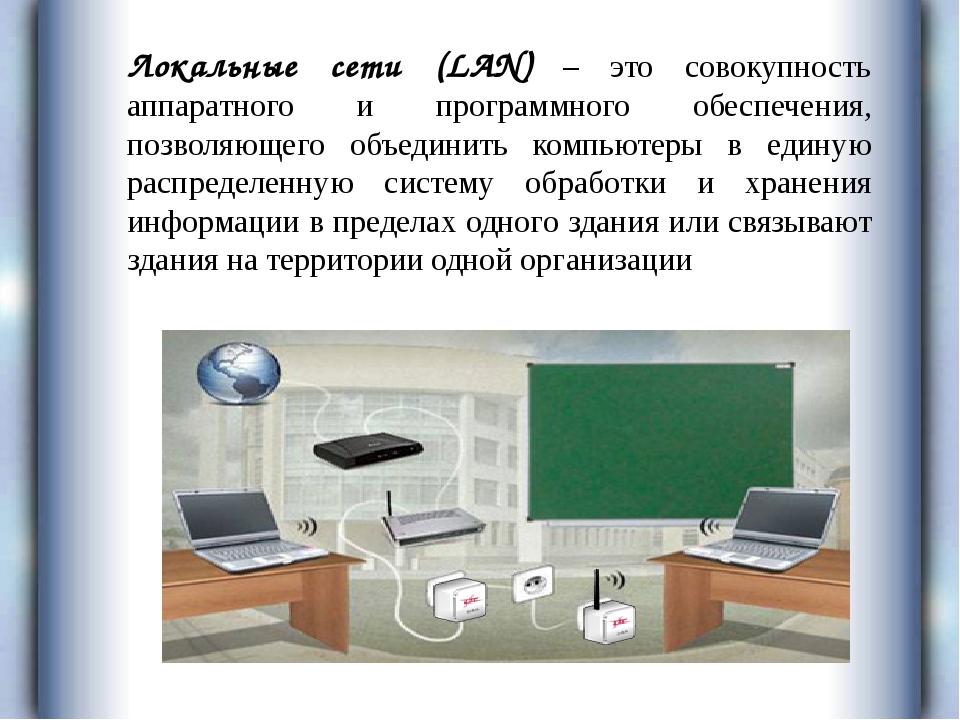 Локальные сети (LAN) – это совокупность аппаратного и программного обеспечени...