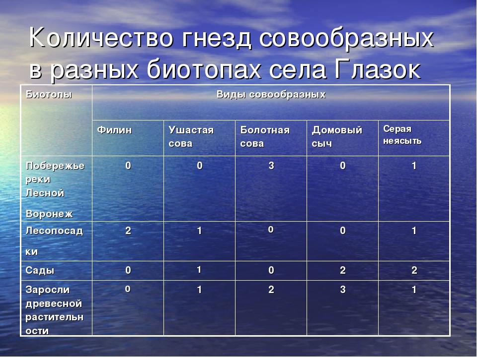 Количество гнезд совообразных в разных биотопах села Глазок