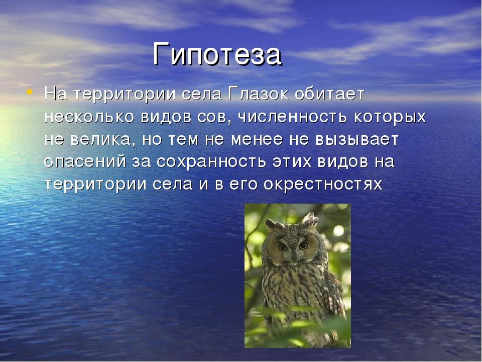 Гипотеза На территории села Глазок обитает несколько видов сов, численность...