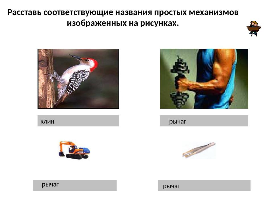 Расставь соответствующие названия простых механизмов изображенных на рисунках...