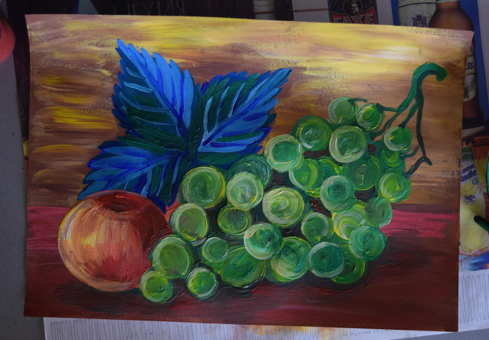 картинка натюрморт пошагово яблоко виноград гатчинский парк отрада