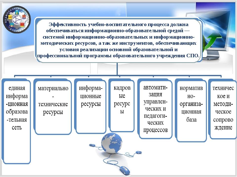 Эффективность учебно-воспитательного процесса должна обеспечиваться информаци...
