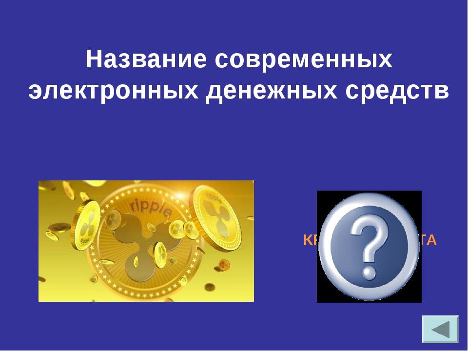 Название современных электронных денежных средств КРИПТОВАЛЮТА, БИТКОИН