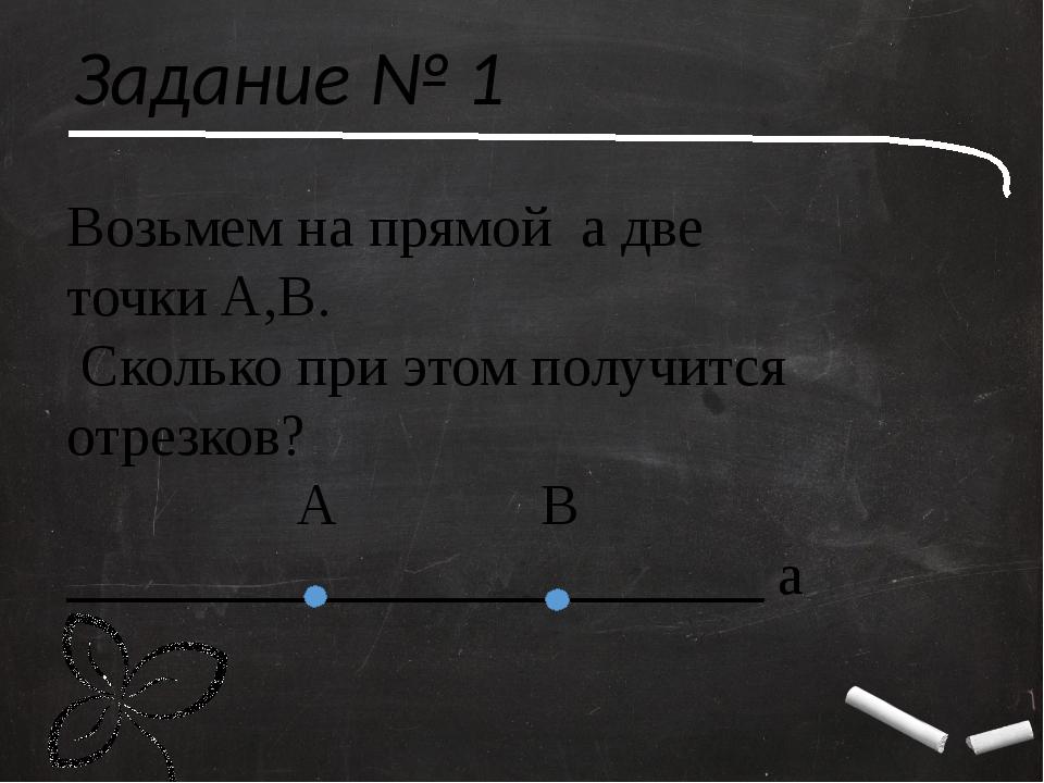 Задание № 1 Возьмем на прямой а две точки А,В. Сколько при этом получится отр...