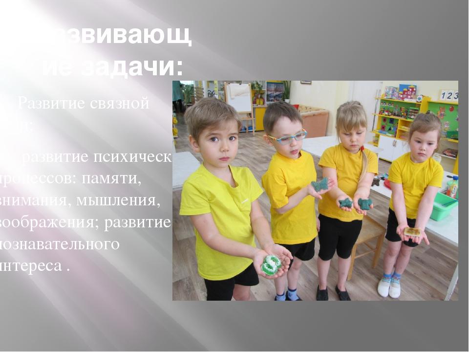 Развивающие задачи: Развитие связной речи;  развитие психических процессов:...