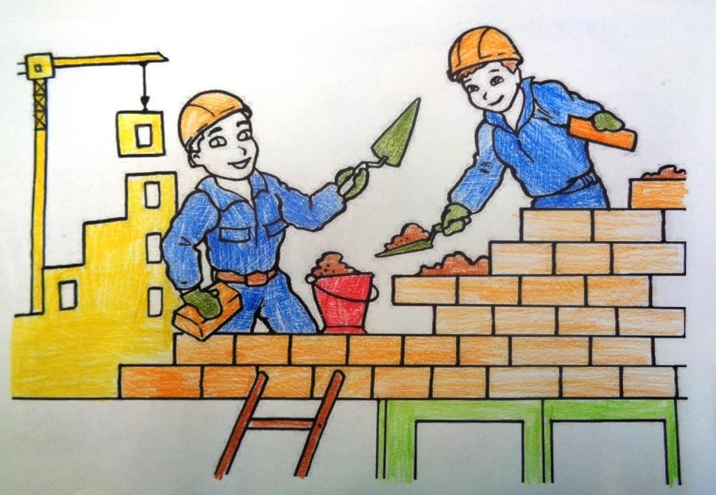 Картинки строители рисованные