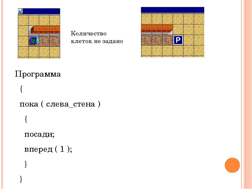 Программа { пока ( слева_стена ) { посади; вперед ( 1 ); } } Количество клет...